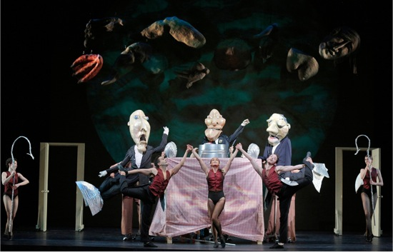 A scene in Fantasque by John Heginbotham and Amy Trompetter. Dancers (L to R): Macy Sullivan, John Eirich, Courtney Lopes, Weaver Rhodes, and Lindsey Jones; puppeteers (L to R): Gregory Corbino, Maura Gahan, and Gabriel Harrell. Photo: Cory Weaver