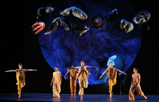 Beneath Mother Earth's body parts in Fantasque: (L to R) Macy Sullivan, Kristen Foote,, Lindsey Jones, John Eirich, Weaver Rhodes, and Courtney Lopes. Photo: Cory Weaver