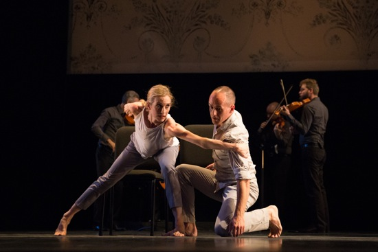 Wendy Whelan and Brian Brooks in Some of a Thousand Words. At back: Brooklyn Rider. Photo: Hayim Heron
