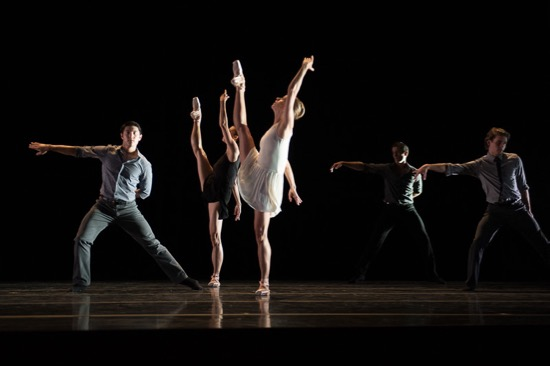 Pacfic Northwest Ballet in Benjamin Millepied's 3 Movements. (L to R): Christian Poppe, Sarah Ricard Orza, Lesley Rausch, Seth Orza, and Matthew Renko. Photo: Christopher Duggan