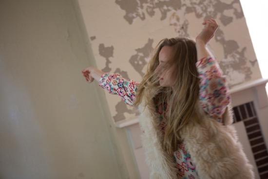 Samantha Allen dancing in an upstairs room. Photo: Julia Discenza
