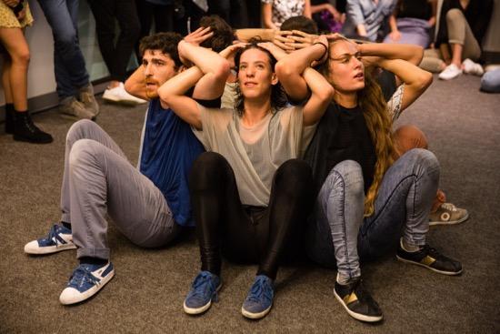Lobby scene in Yasmeen Godder's Climax. Visible (L to R): Ofir Yudilevitch, Shuli Enosh, Dor Frank. Photo: Scott Shaw