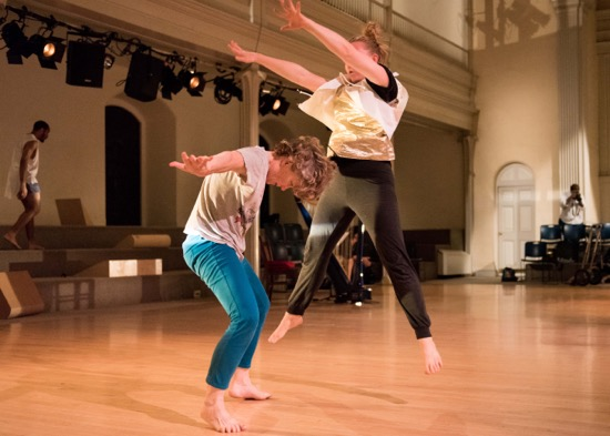 Jennifer Monson (L) and Alice MacDonald in in tow. Photo: Ian Douglas/Courtesy Danspace Project
