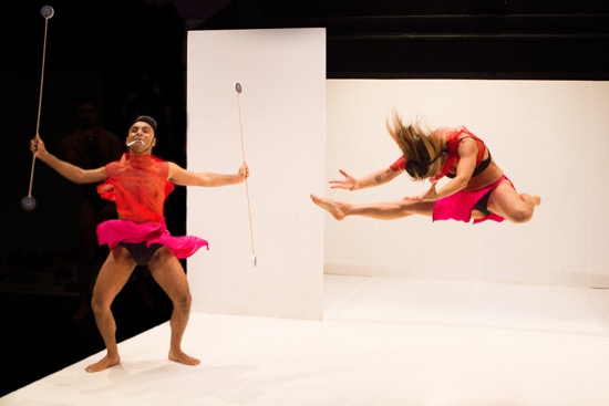 Paul Singh and (leaping) Alicia Ohs in one of their disguises in Thank You for Coming: Play. Photo: Yi-Chun Wu