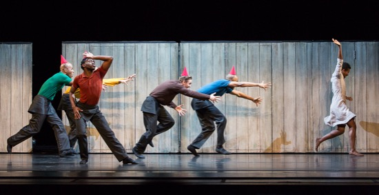 Alvin Ailey America Dance Company members Glenn Allen Sims (green), Sean Aaron Carmon (yelow), Chalvar Montero (red), Michael Francis McBride (brown), and Yannick Lebrun (blue) chasing Rachel McClaren. Photo: Yi-Chun Wu