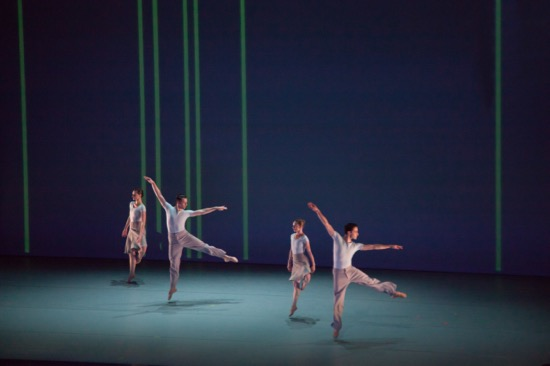 "The Lucinda Childs Dance Company's Caitlin Scranton, Patrick John O'Neill, Sharon Milanese, and Matt Pardo in ""Canto Ostinato."" Photo by John Sisley."