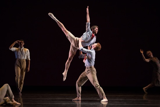 Matthew Neenan's Walk Me Through for Juilliard Dance's Class of 2017. (L to R):  Malik Williams, Conner Bormann, Riley O'Flynn, Eliza Jones. Photo: Rosalie O'Connor
