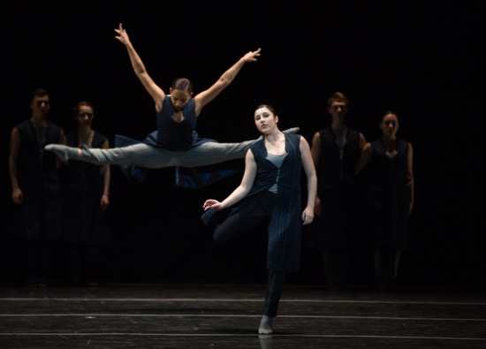 Juilliard Dance's Class of 2019 in Katarzyna Skarpetowska's The Saloneers. Foreground: Kylie James (L) and Maddie Hanson. Photo: Rosalie O'Connor