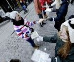 Thousands Of Latvians Form Human Daisy Chain To Move Library Books