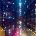 Dynamic ed illuminated motion cityscape lights in Qingdao, Shandong province, China, Asia.