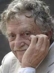 Kurt Vonnegut hand on cheek