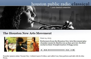 Performers from the Houston New Arts Movement are interviewed on The Front Row on Houston's KUHA.