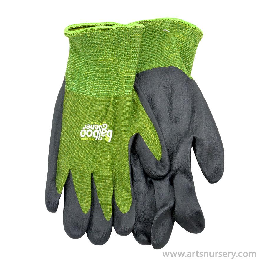 The Bamboo Gardener Garden Gloves W Nitrile Palm Large