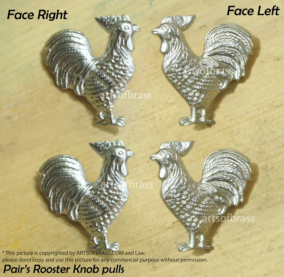 2 Pairs ROOSTER Cabinet Knob Dope Chrome Finishing Brass