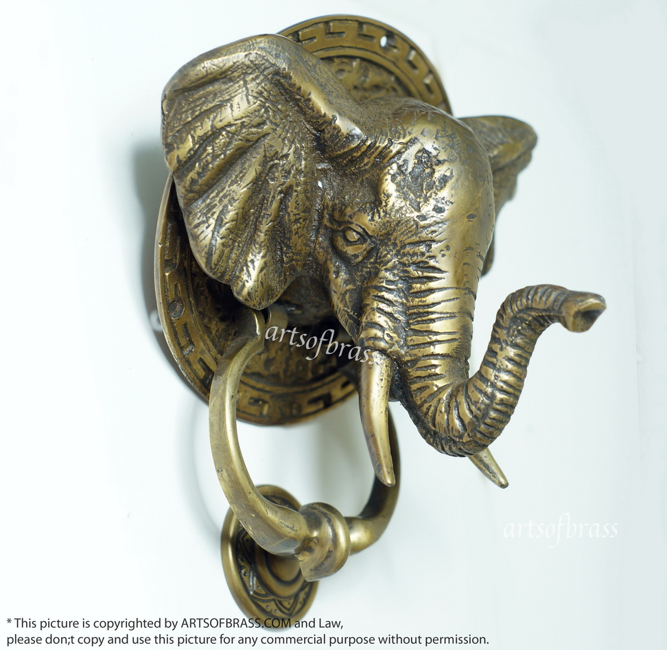 7.08″ Vintage Mammoth elephant head Door Knocker ... - 7.08