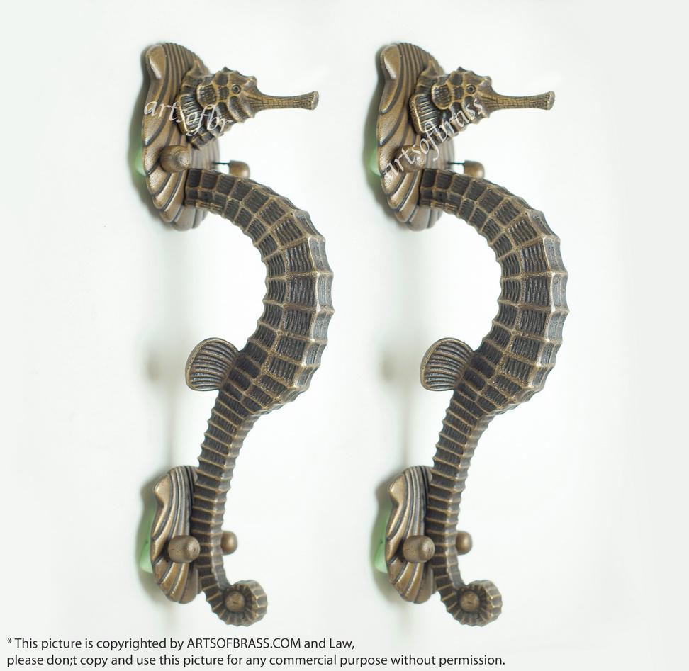 Set 12 20 Quot Vintage Big Seahorse Mythology Poseidon Brass
