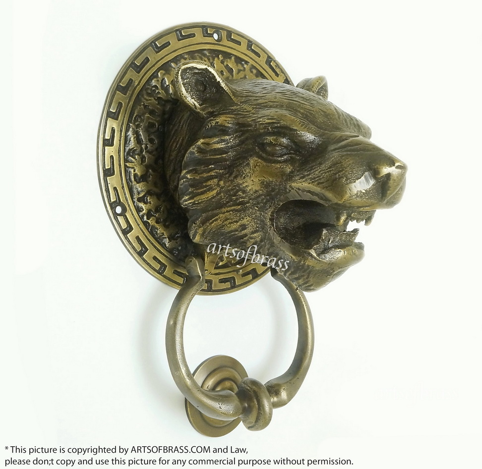 Ordinaire 8.07u2033 Vintage Black Panther Cat Animal Head Door Knocker ...