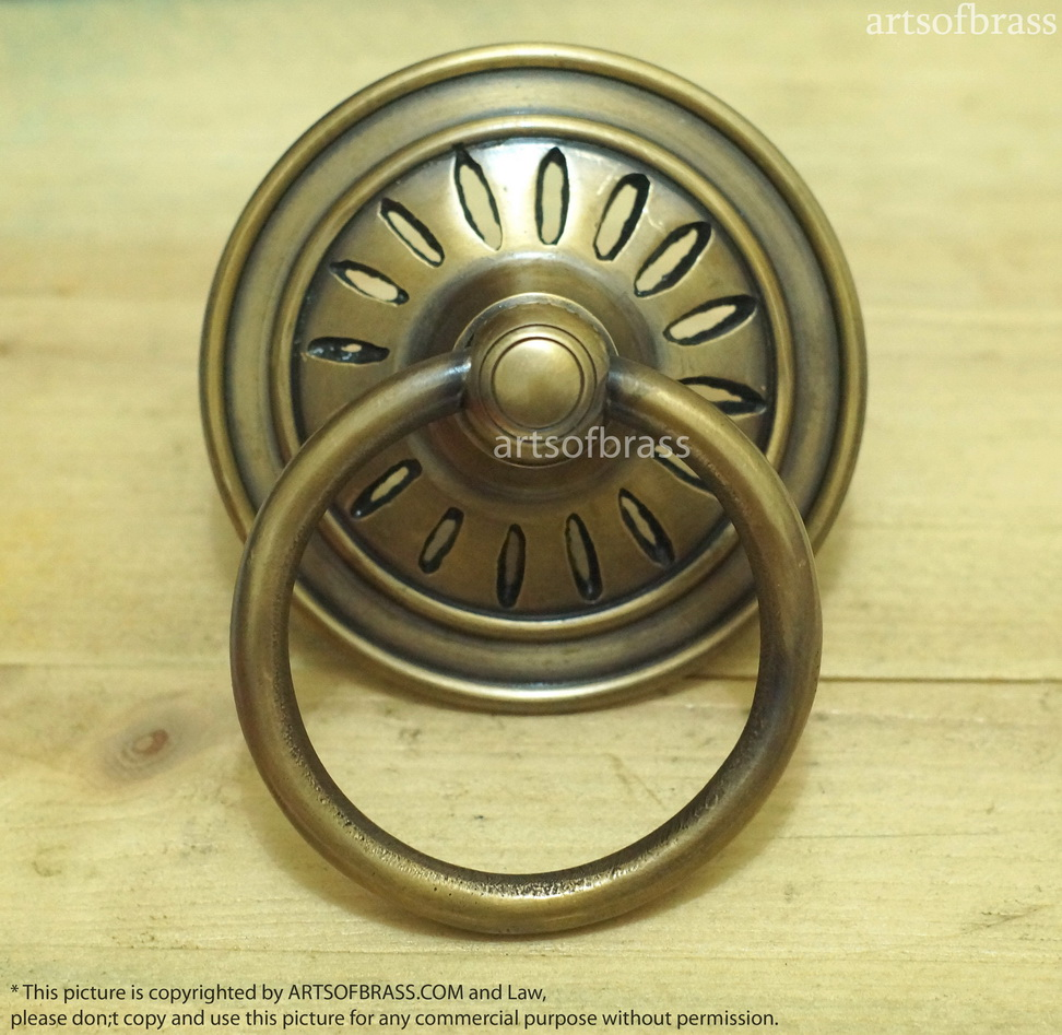 3.54″ Inches Vintage Big Round Ring Pulls Solid Brass Antique Cabinet  Drawer Door KNOB Pulls - 3.54