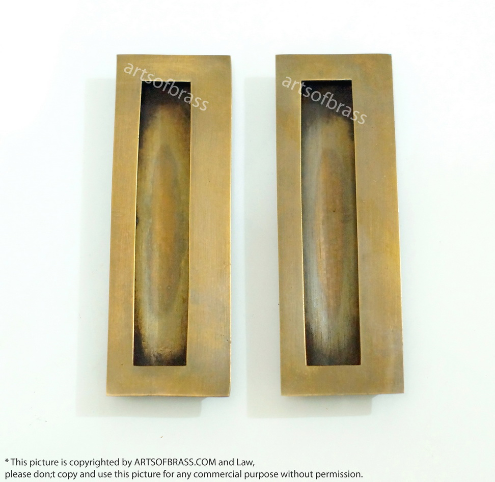 468 2 Pcs Vintage Brass Big Baldwin Flush Pull Sliding Door Handle