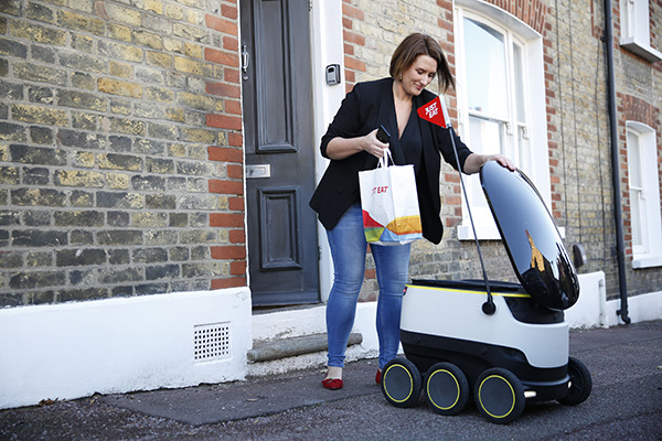Just Eat Delivers World's First Takeaway Food Order by a Robot in London (Photo courtesy of Just Eat and Starship Technologies/Getty Images)
