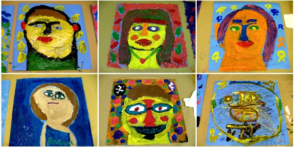 A collage of self portraits created by students in an artsREACH visual arts workshop.