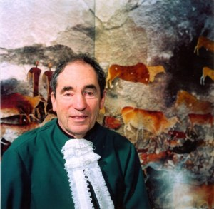 Albie Sachs in front of artwork at Constitutional Court by Steve Gordon