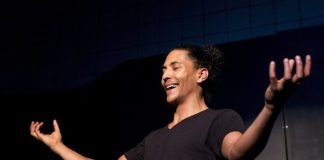 """Daniel Mpilo Richards performs in """"Pay Back The Curry"""". Photo: Cue/Dani O'Neill"""