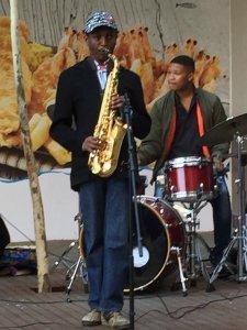 Oscar Rachabane on saxophone