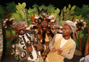 Sisonke Yafele, Ayanda Nondlwana and Mandisi Heshu in the South African production of THE GRUFFALO