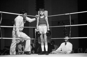 David Goldblatt | Before the fight: amateur boxing at the Town Hall, Boksburg | 1980 | silver gelatin print on fibre-based paper | 39.5 x 31 cm