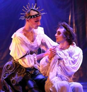 Callum Tilbury as GERTRUDE and Matthew Baldwin as OPHELIA