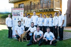 Some of the students from the Jackie Cameron School of Food and Wine who will be staffing the Bistro at the Hilton Arts Festival - Pic by Kate Martens.