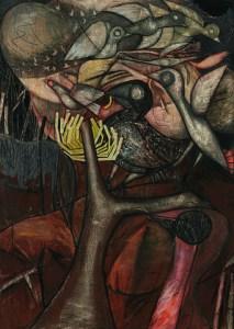 Louis Maqhubela | Flight | 1967 | charcoal, pastel, conté and collage on paper | 98 x 70.5 cm | Photograph: Nina Lieska | Repro Pictures