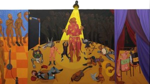 "Richard Mudariki, ""The Puppeteer"", acrylic on canvas, 150 x 300 cm"