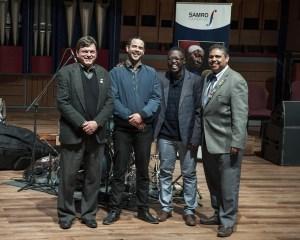 Jazz Finalists Nicholas Williams and Ntando Ncgapu with SAMRO Foundation's Chairman and MD.