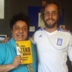 Nikolaos Kirkinis in the Hellenic Radio studio with host Renos Spanoudes.