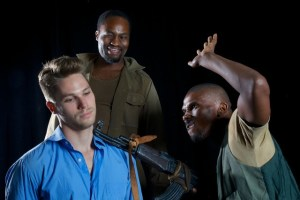 From left Kai Luke Brümmer, Marty Kintu and Mbulelo Grootboom in a scene from When Swallows Cry which opens at the Baxter Theatre on 31 January.