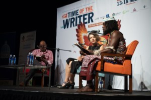 Time Of the Writer. Facilatator Adarsh Maharaj (left) with Bronwyn Law-Viljoen and Unathi Magubeni.