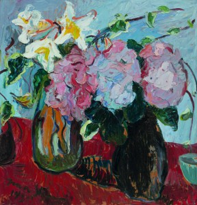 Irma Stern Hydrangeas and St Joseph lilies in the artist's hand made ceramic jug 1950.