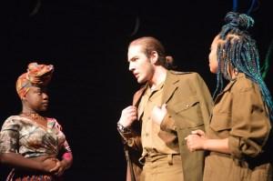 From left to right: Makhosazane Zondi (Ross), Keanu Sousa Mendez (Macbeth), Jodi Russel (Banquo) in Macbeth.