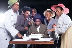 Touch My Blood': Thobani Gama as Fred with Phumelele Majola, Okuhle Danti, Fezeka Shandu, Ayanda Nyawo and Simphiwe Dladla as the 'Voices' (Pic by Val Adamson)