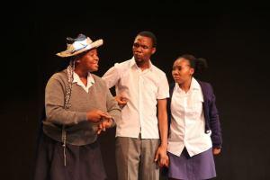 Akhona Shinga, Khayelethu Anthony and Asandiswa Maliti in Iqonga at the Zabalaza Festival.