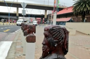 The carved wooden heads that decorate the sidewalks in Newtown, Johannesburg will be replaced and refurbished.