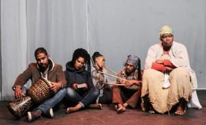 Jason Skippers, Babalwa Makwetu, Thabisa Dinga, Nceba Gongxeka and Siphokazi Jonas in Around the Fire.