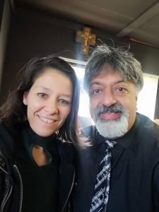 Athena Mazarakis in studio with Renos Spanoudes