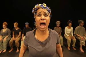 Motlaji Ditola in Antigone (not quite quiet), pic by Mark Wessels.