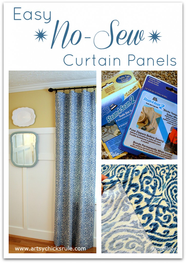 No Sew Curtain Panels - Inexpensive and Easy  - artsychicksrule.com #nosew