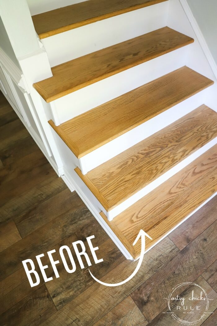 Update Stairs With Gel Stain So Simple Artsy Ch*Cks Rule® | Best Wood To Use For Stair Treads | Oak | Stair Stringers | Carpet Treads | Stair Nosing | Stringers