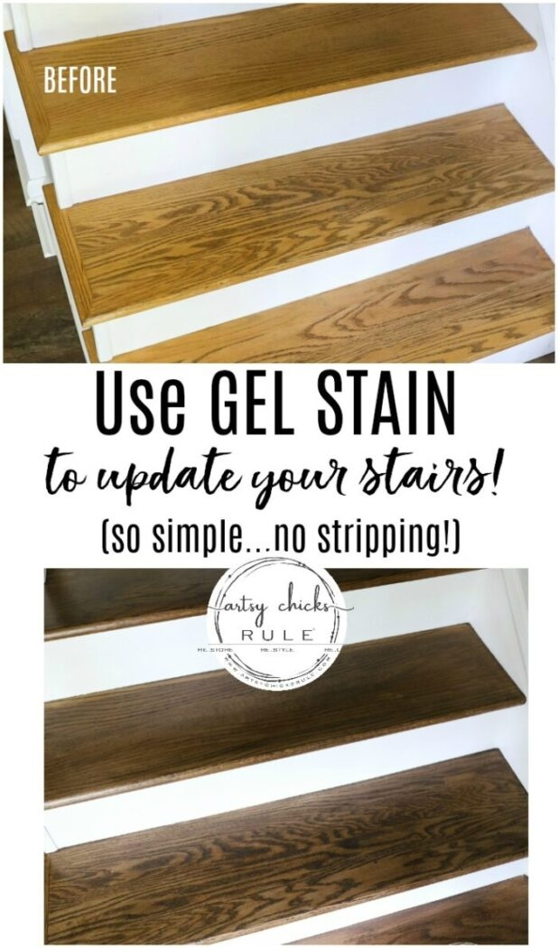 Update Stairs With Gel Stain So Simple Artsy Ch*Cks Rule®   Putting Wood On Stairs   Carpeted Stairs   Stair Risers   Concrete Stairs   Treads   Engineered Wood Flooring