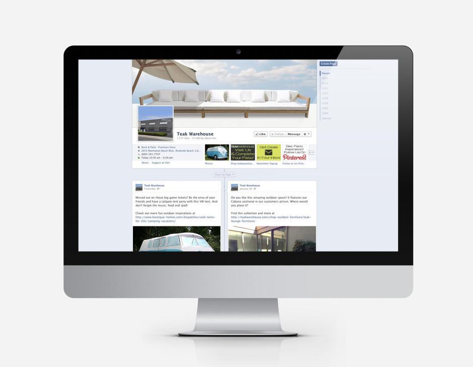 Teak Warehouse Facebook Optimization